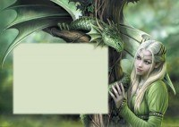 Fantasy Grußkarte mit Wolf - Protector