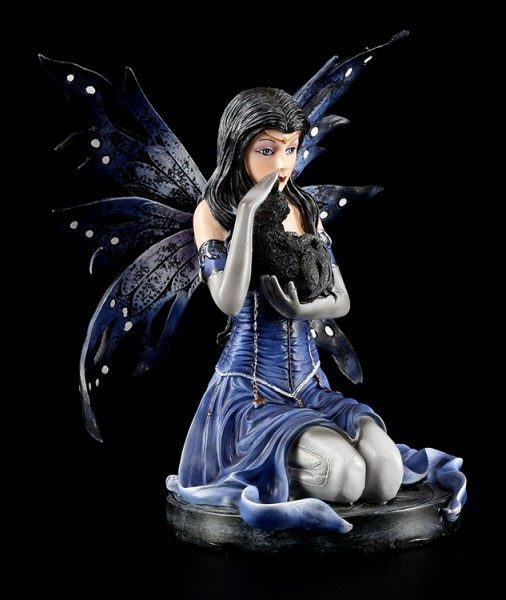 Witch Fairy Figurine - Morgana with Black Cat