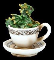 Dragon in Cup Figurine - Dracuccino - green