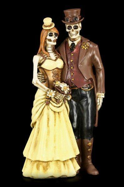 Skelett Brautpaar Figur - Steampunk - I Do