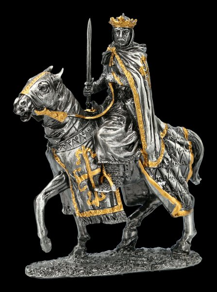 Pewter Knight Figure - King with Horse