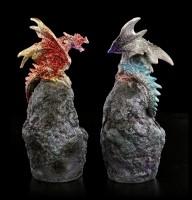 Drachen auf Stein mit LED - 2er Set