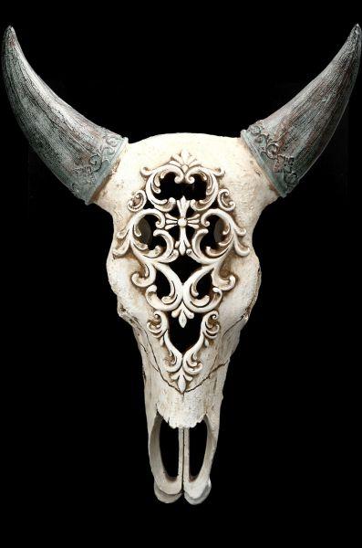 Wandrelief - Bison Totenkopf mit Verzierung