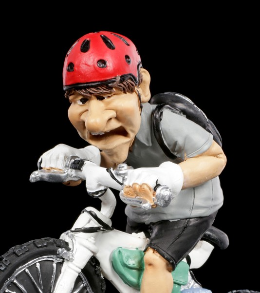 Funny Sports Figurine - Mountain Biker highly concentrated