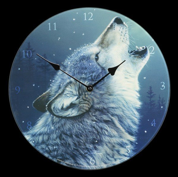 Glas Wanduhr mit Wolf - Ascending Song