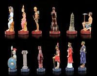 Zinn Schachfiguren Set - Ägypter vs. Römer