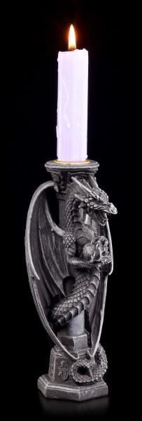 Drachen Kerzenhalter - Midnight Keeper - schwarz