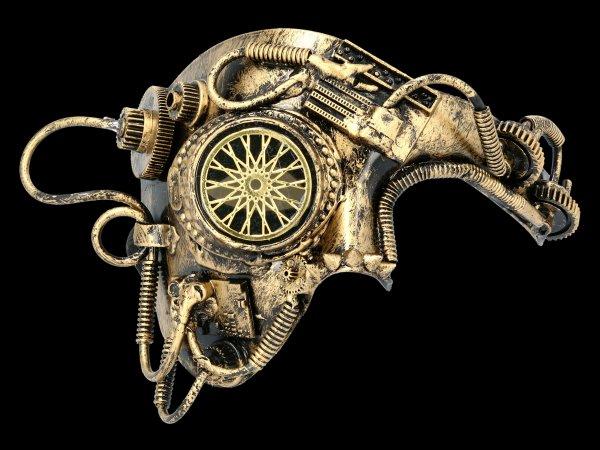 Steampunk Mask - Golden Wheels