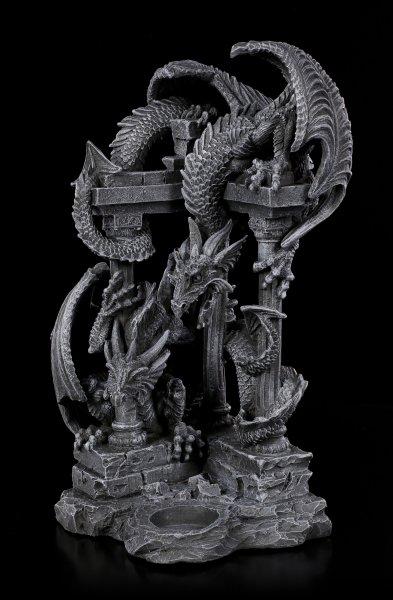 Drachen-Teelichtleuchter - Zwei Drachen auf Ruine