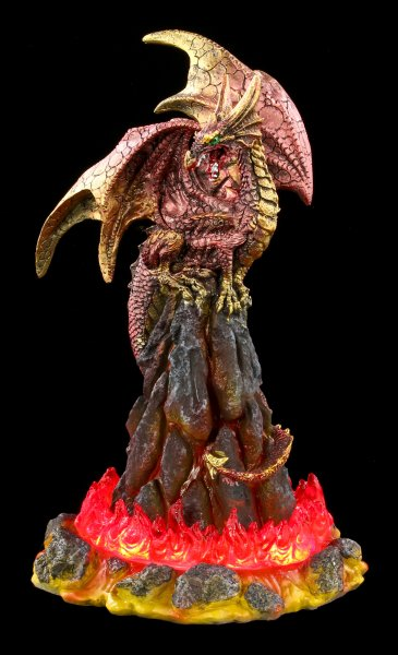 Lava Dragon Figurine with LED - Volcanic Victory