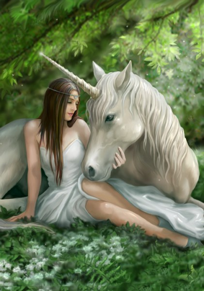 Fantasy Greeting Card Unicorn - Pure Heart
