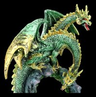 Two Headed Dragon Figurine - Green with LED