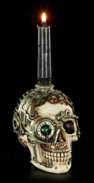 Steampunk Totenkopf Kerzenhalter mit Geheimversteck