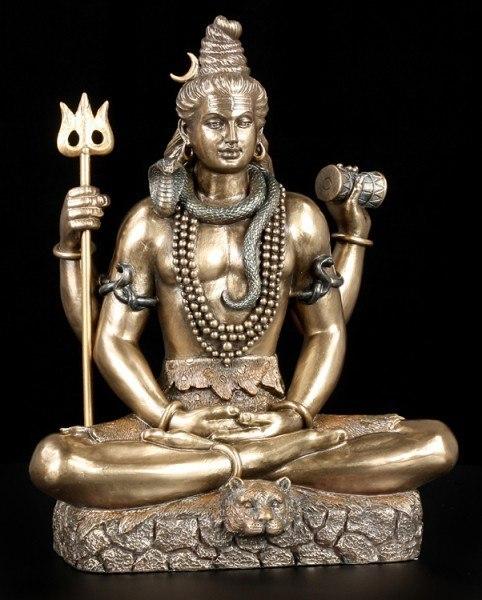 Hindu Gott Shiva Figur - sitzend bronziert