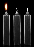 Thick Black Candles - Set of 3