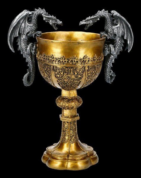 Goblet Holy Grail - King Arthur with two Dragons