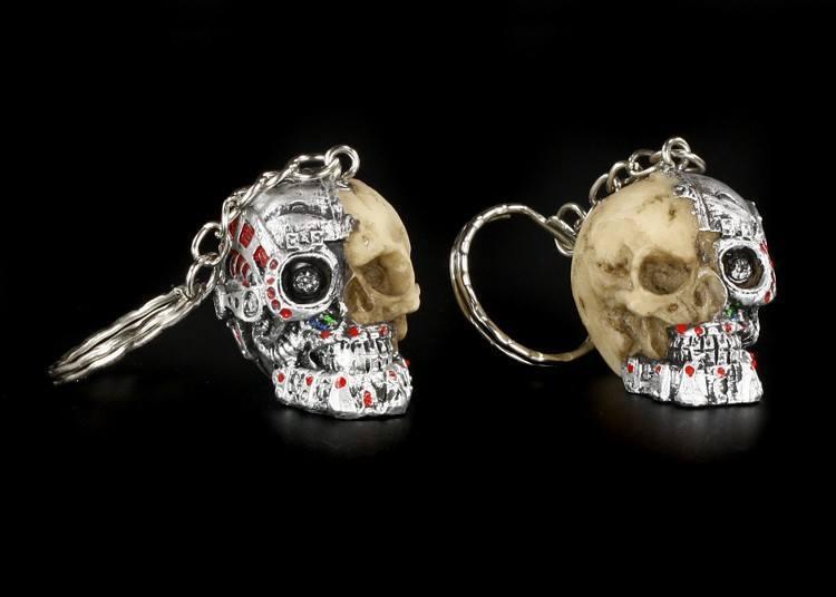 Totenkopf Schlüsselanhänger 2er Set - Cyborg