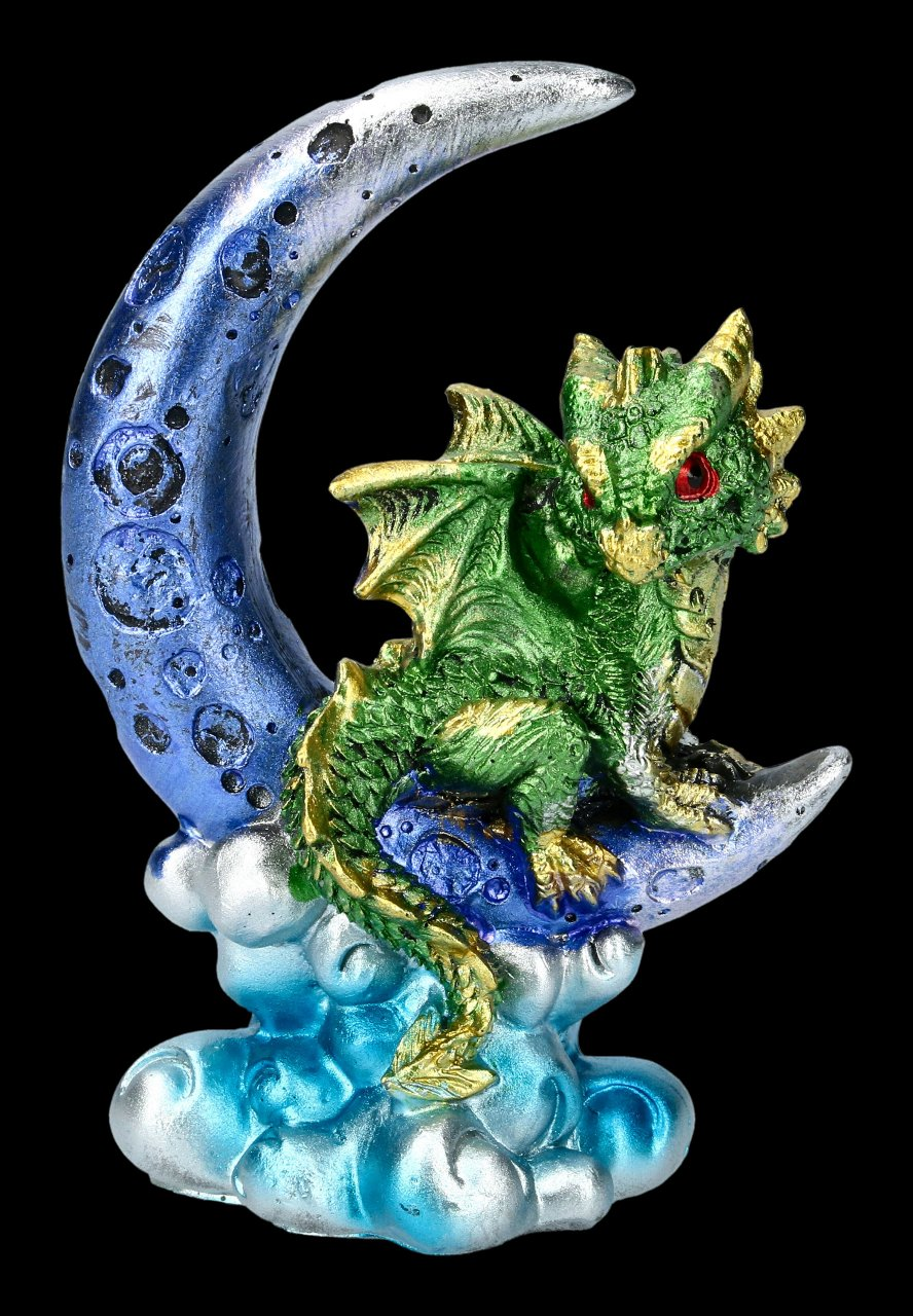 Dragon on Moon Figurine - Crescent Creature - green