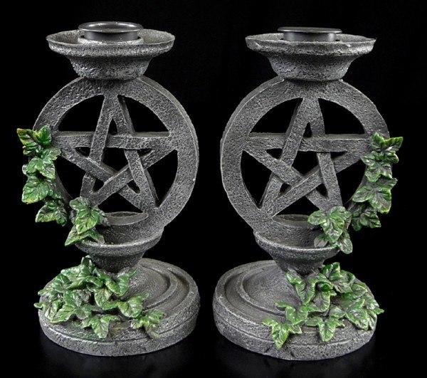 Aged Pentagram Candlesticks - Set of 2