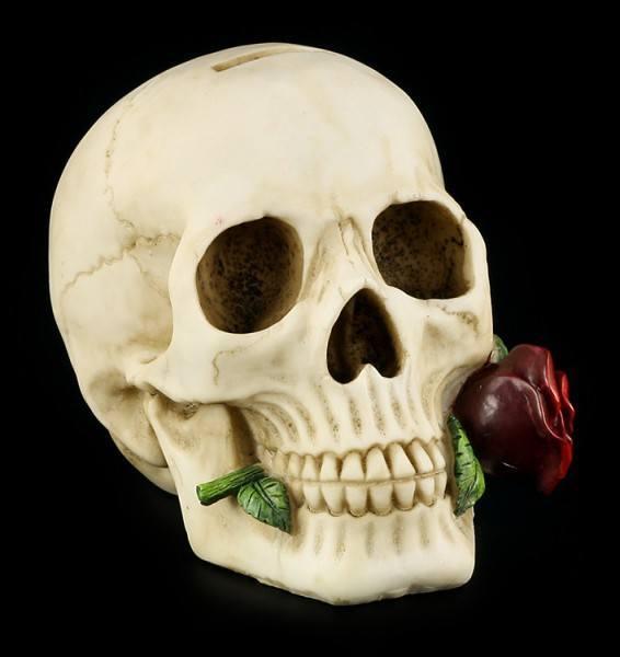 Vorschau: Totenkopf Spardose mit Rose