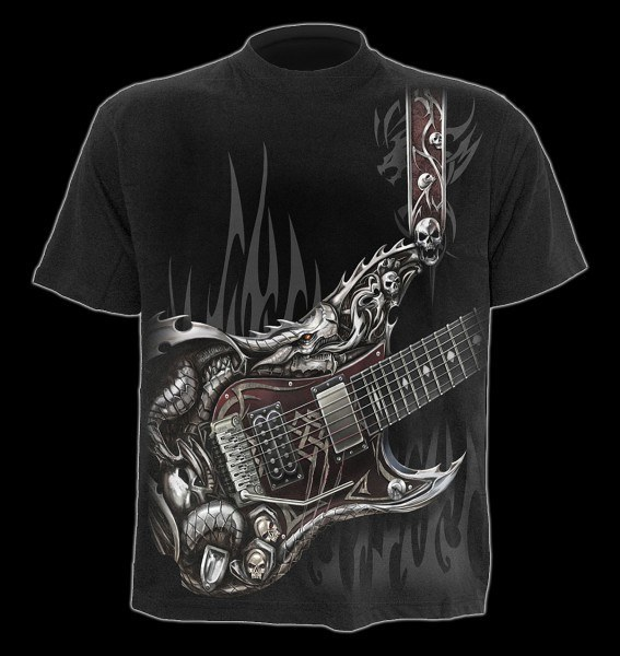 T-Shirt - Heavy Metal Skelett - Air Guitar
