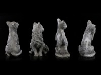 Schwarze Glücks-Katzen Figuren - 4er Set
