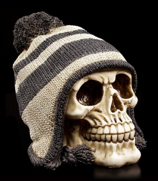 Skull with Knit Hat- Bobble black