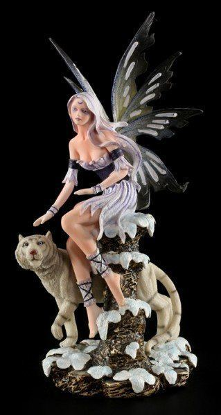 Fairy Figurine - Enela with white Tiger