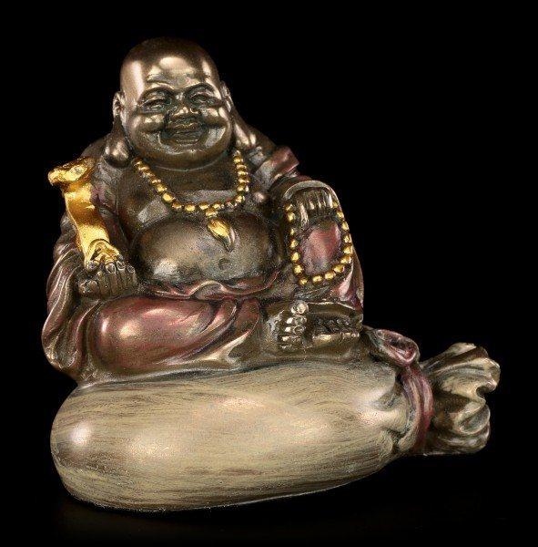 Happy Buddha Figur - Sitzend auf Goldsack