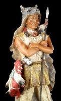 Indian Figur - With Spear and Wolf Coat
