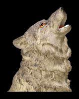 Heulende Wolf Figur - Der Ruf im Sturm grau