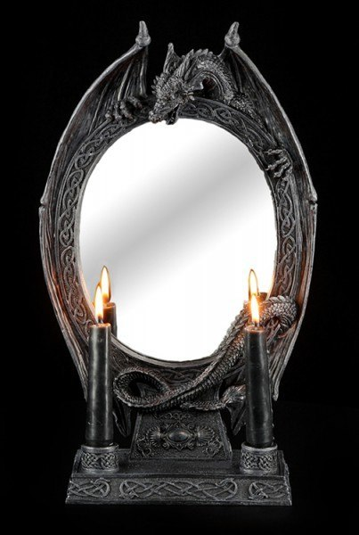 Spiegel - Drache mit zweifach Kerzenhalter