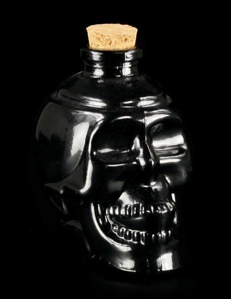 Totenkopf Glasflasche - Schwarz