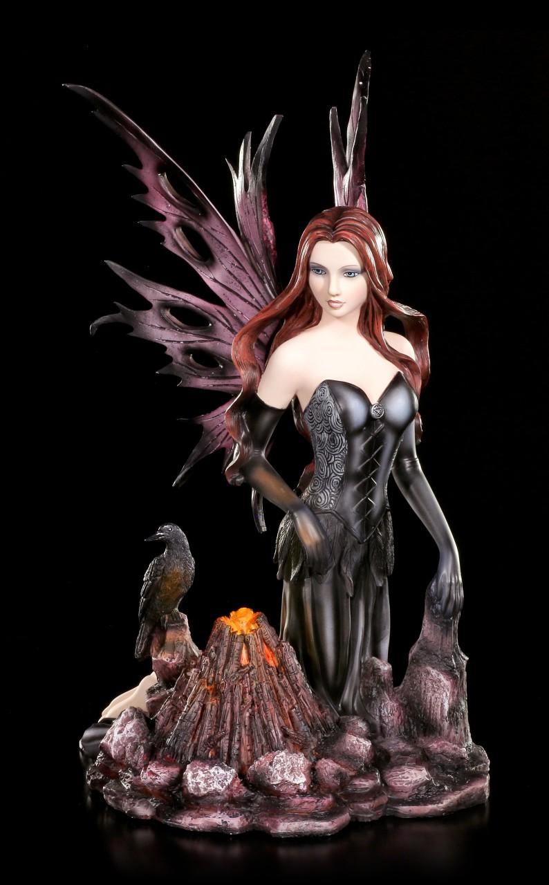 Night Fairy Figurine - Mundia with Raven and Bonfire LED