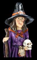 Hexen Figur mit Besen und Schädel