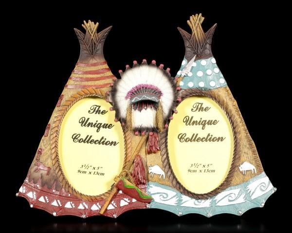 Wilder Westen Bilderrahmen - Zwei Indianer Tipis