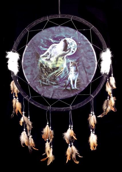 Großer Traumfänger mit Wolf - Night Wolf