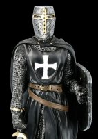 Black Templar Knight Figurine with Shield and Sword
