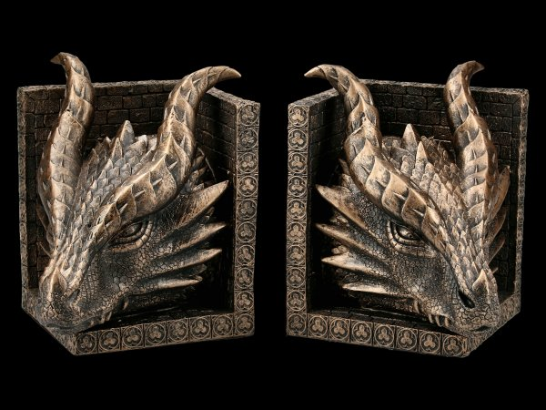 Buchstützen Set - Mächtige Drachenköpfe
