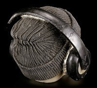 Totenkopf mit Kopfhörern - Dead Beat - Grau