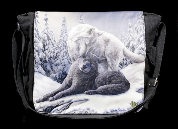 Messenger Bag with Wolves - Snow Kisses