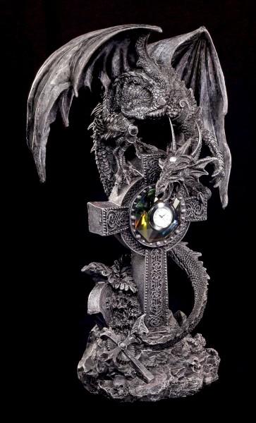 Tischuhr - Drachenfigur auf keltischem Kreuz