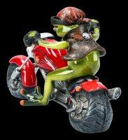 Lustige Frosch Figur auf Motorrad