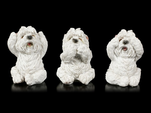 Three wise Dog Figurines - Westies No Evil