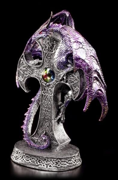Drachen Figur - Tiamat umschlingt keltisches Kreuz