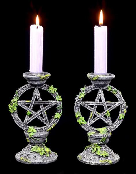 Candle Holder - Wicca Pentagram Set of 2