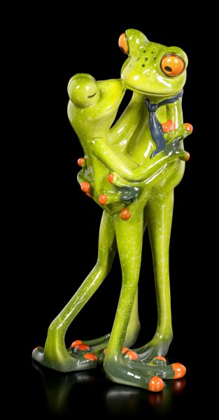 Funny Frog Figurines - Couple Kissing