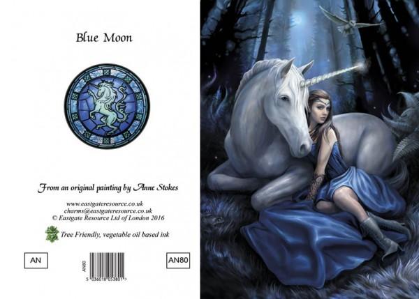 Einhorn Grußkarte - Blue Moon