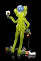Lustige Frosch Figur als Golfer
