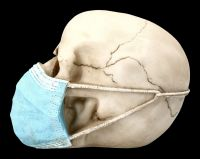 Skull Figurine with blue surgical mask - Masked Skull